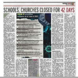 National News, School, Churches closed for 42 days